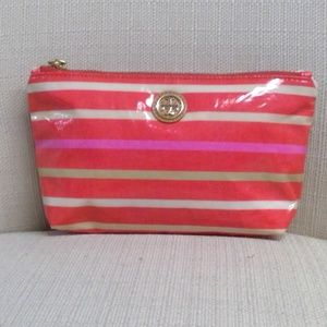Authentic Pink and Coral Tory Burch Makeup Bag